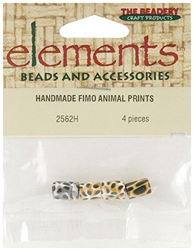 Animal Print Elements Handmade Fimo Beads 4/Pkg 2562H
