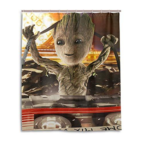zhengdengshuibaihuodian Guardieans of The Galaxy DJ Groot Duschvorhang Liner Wasserdichter Duschvorhang aus Polyestergewebe Duschvorhang aus Stoff