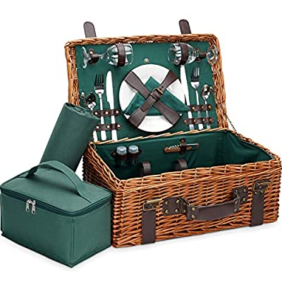 Picnic Baskets for 2 Person with Insulated Wine Cooler & Picnic Blanket. Handmade Vintage Picnic Basket Set for 2, Picnic Set, Picnic Kit Includes Metal Flatware, Wine Glasses, Bottle Opener. Green