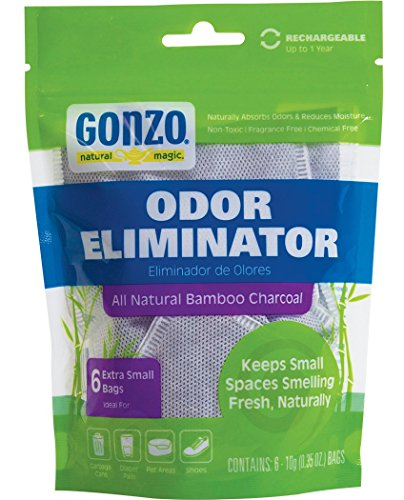 Gonzo Bamboo Charcoal - 6 Extra Small Bags 10g - Odor Eliminator Bags Natural Purifying Charcoal Odor Absorber Air Freshener For Home Drawers Pets Gym Bag