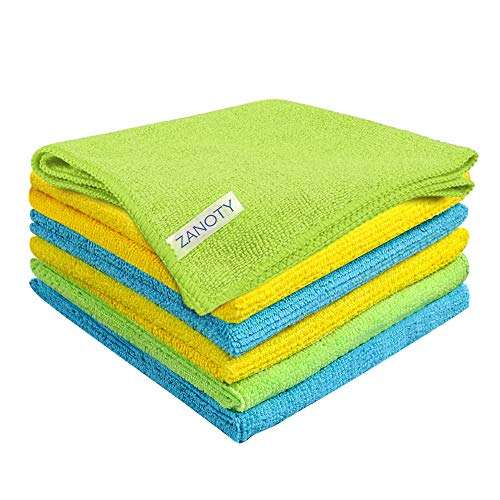 ZANOTY Microfiber Cleaning Cloth - Smart Kitchen Cleaning Towels – Cleaning Supplies - Ultra Soft Cleaning Wipes for House - Microfiber Cloths - Large Cleaning Rags 12.6x12.6 Inch (Pack of 6)