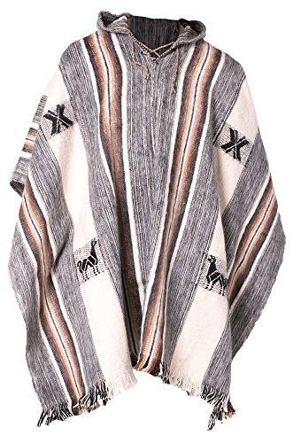 Gamboa - Warm und Weich Alpaka Rundhalspullover für Herren - Weiß Natürlich mit Brown und Grey Geometric Design, Grau, Einheitsgröße