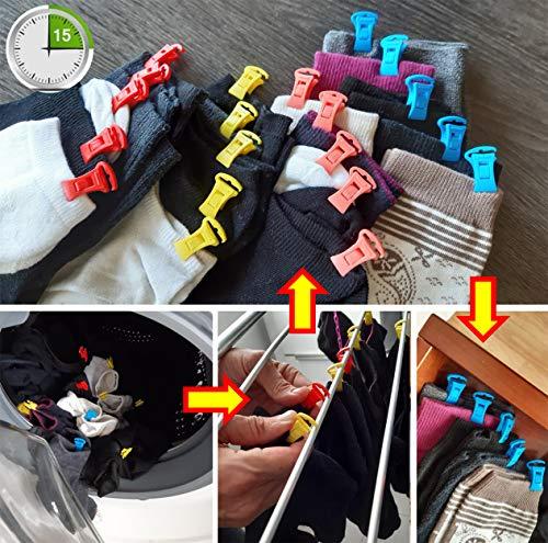 Alcrea Pinzas para ropa pequeña o Emparejar calcetines en lavadora y Secadora. Muy cómodo y rápido de Tender, clasificar y al cajón. Fuertes, plástico sin Acero. Con GANCHO para tendedero. 4 colores
