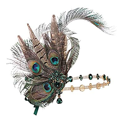 Coucoland 1920s Flapper Headband Peacock Feather Gatsby Headpiece Roaring 20s Hair Accessories for Women