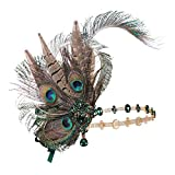 Coucoland 1920s Flapper Headband Peacock Feather Gatsby Headpiece Roaring 20s Hair Accessories for Women (Peacock)