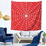 White Spider Web In Red Nature Spiderman Home Decor Art TV Background Tapestry Fabric(Size:59x59 inches)
