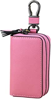 Leather Women's Wallet Cross-Stitched Leather Key Case Popular Double-Layer Zipper Car Key Case Waterproof (Color : Pink, Size : L)