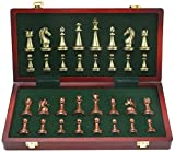 J & J El Cobre Metal Grande Deluxe Ajedrez Retro plateó el Juego de ajedrez para Adultos Juego de Mesa portátil de Madera Caja de almacenaje Plegable Juego de ajedrez
