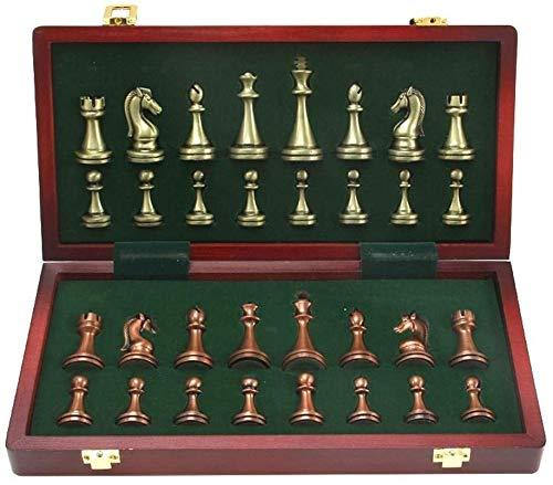 J & J El Cobre Metal Grande Deluxe Ajedrez Retro plateó el Juego de ajedrez para Adultos Juego de Mesa portátil de...