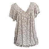 Blusa para mujer con estampado de flores, cuello en V, blusa de verano, tallas grandes, camiseta holgada, blusa de manga corta Blanco XXXL