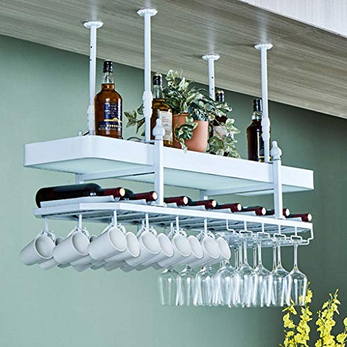 FYHH-JZHY 2-Layer Adjustable Ceiling Wine Racks Bottle Organizer And Stemware Storage With Light Box Holds Any Type Of Stemware Glassware Wine Glasses And Flutes Rack,150Cm(59.1In),150Cm(59.1In)