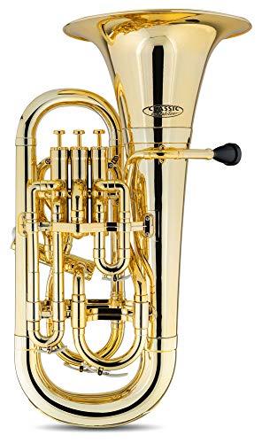 Classic Cantabile MardiBrass Kunststoff Bb-Euphonium - 4 Aluminium-Ventile - nur 2,2 kg leicht - inkl. Mundstück und Leichtkoffer mit Rollen - gold