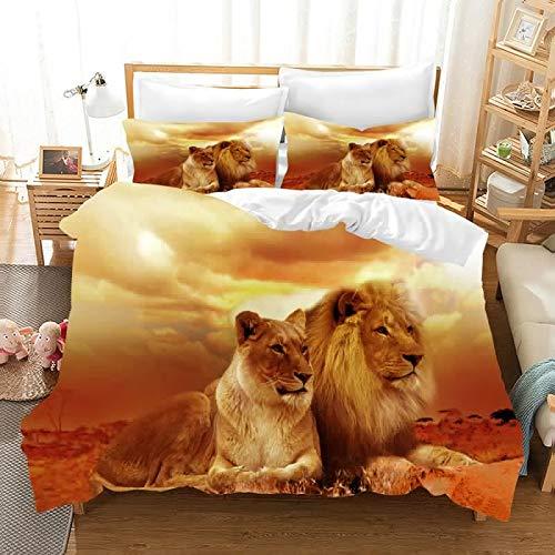 Der König der Löwen 3D Bettwäsche Set Bettbezüge Kissenbezüge Lion Simba Kinder Zimmer Dekor Tröster Bettwäsche-Sets Bettwäsche Bettwäsche (4,135x200cm)