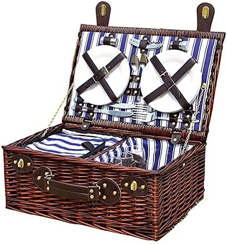 Ghongrm Cesta de Picnic de Mimbre Hecha a Mano 4 Persona, Canasta de Picnic portátil de Sauce con Compartimento Aislado y Accesorios Establecido 47x 31x20 cm