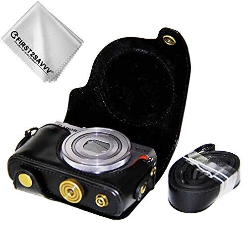 First2savvv negro Calidad premium Funda Cámara cuero de la PU cámara digital bolsa caso cubierta con correa para Canon PowerShot G9 X Mark II. G9X MK2 G9X + 1 x Paño de limpieza XJD-G9XMkII-01G11