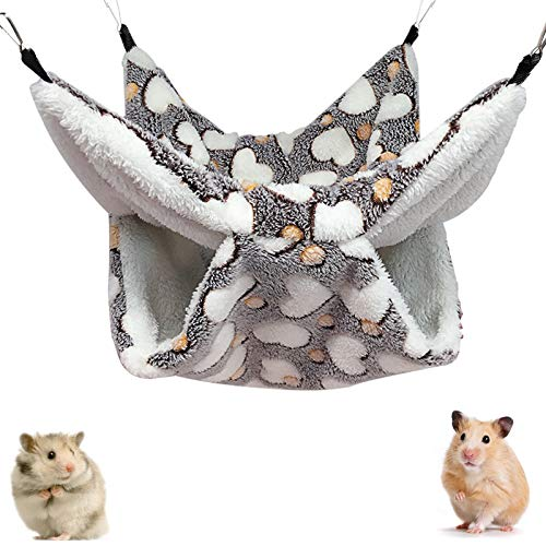 O'woda Hängematte für Kleintiere(34 x 34cm), Warme Flauschmatte Doppelschicht Haustier Hängende Bett, Frettchen Ratten Maus Meerschweinchen Rennmaus Hamster Chinchillas Eichhörnchen Kätzchen - Grau