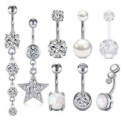 LONGITA Silver Belly Button Rings for Women Surgical Stainless Steel 14g Opal Pearl Sparkling Diamond Sexy Dangle Belly Ring Navel Piercing Jewelry 10mm Pack