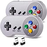 2 Pack 2.4 GHz Wireless USB Controller Compatible with SNES Games, SAFFUN SNES Retro USB PC Super Classic Controller for Windows PC MAC Linux Genesis Raspberry Pi Retropie (Multicolored Keys)