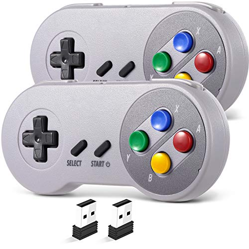 2 Pack 2.4 GHz Wireless USB Controller Compatible with SNES Games,...