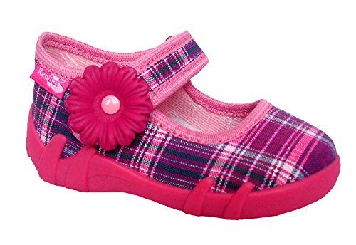 Generic Renbut Mädchen Baby Kinder Hausschuhe Ballerinas kariert Einlegesohle Leder Schuhgröße EUR 19