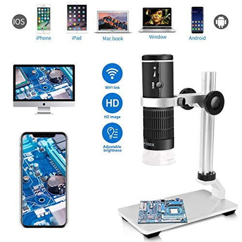 Jiusion WiFi USB Microscopio Digital HD 1080P Resolución 50 a 1000x Aumento inalámbrico Endoscopio 8 LED Mini cámara con Soporte actualizado Estuche portátil, Compatible con iOS Android Windows Mac
