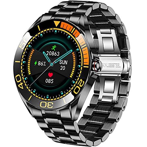 LIGE Smartwatch da Uomo da 1,3 Pollici, con Touch Screen, Cardiofrequenzimetro, Pressione Arteriosa, Orologio Fitness Impermeabile IP68, in Acciaio Inox, con Cronometro per Android e iOS