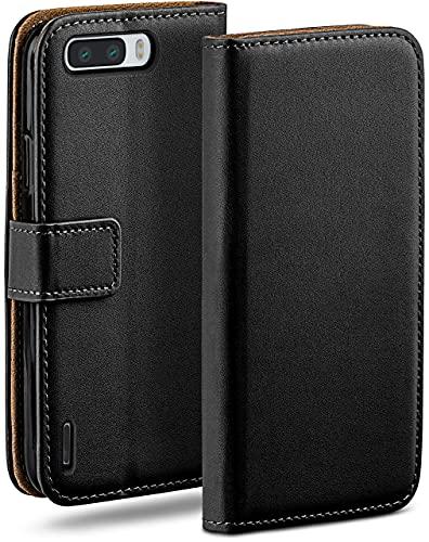 moex Klapphülle kompatibel mit Huawei Honor 6 Plus Hülle klappbar, Handyhülle mit Kartenfach, 360 Grad Flip Hülle, Vegan Leder Handytasche, Schwarz