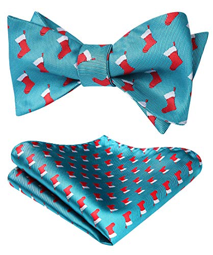 HISDERN Christmas Bow Tie for Men & Boys Festival Theme Funny Christmas Socks Self Tied Bowties & Pocket Square Set Party Holiday