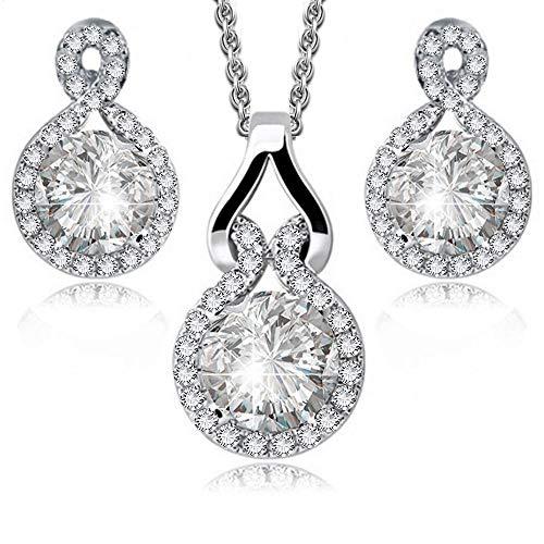 Redondo Blanco Cristales austríacos de Zirconia Juego de joyas Collar con colgante 45 cm Pendientes 18k Chapado en oro blanco para mujer