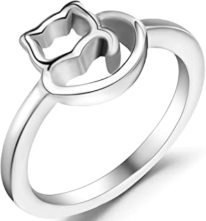 Jude Jewelers Stainless Steel Cute Cat Kitty Girl Teen Cocktail Party Birthday Ring