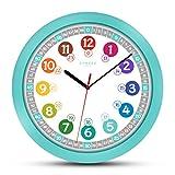 Cander Berlin MNU 1030 T - Reloj de pared para niños (silencioso, 30,5 cm, esfera de aprendizaje, colorido, analógico, para niños, niñas, sin ruido de tictac)