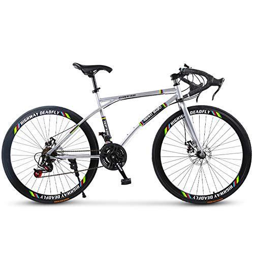 Road Bike for Men and Women, 24-Speed 26 Inch Bikes, Student Men Double Disc Brake Sports Car, Pneumatic Racing, Rider Height 165-185 cm (5.4-6 Feet),Green