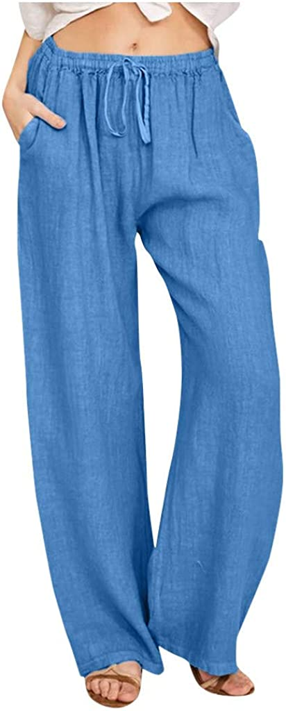 iHHAPY Direct sale of manufacturer Women Wide Legs Pants Linen Trousers Factory outlet Breatha Summer