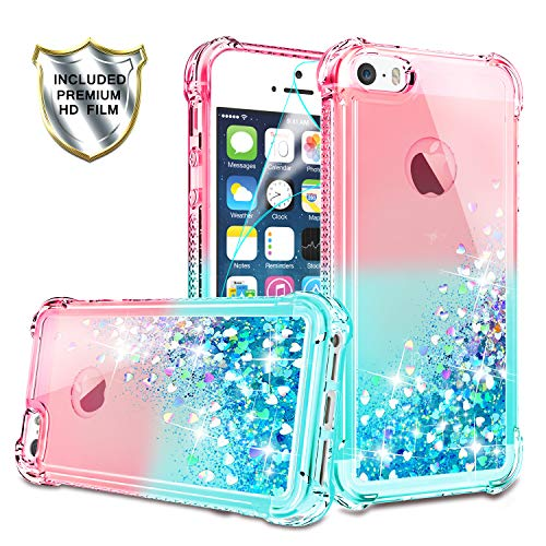 iPhone 5/iPhone 5S Case, iPhone SE Case with HD Screen Protector for Girls Women, Gritup Cute Clear Gradient Glitter Liquid TPU Slim Phone Case for Apple iPhone 5/5S/SE Pink/Teal
