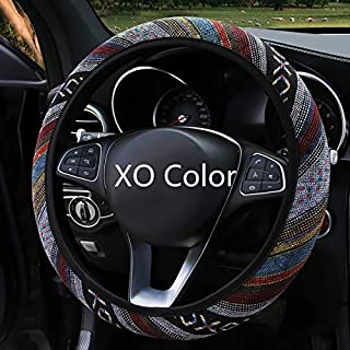 Car Steering Wheel Cover for Women Universal 15 Inch Handy Non-Slip Leather Cute Bump Design and Breathable Red Steering Wheel Cover Not Easy to Wear Out