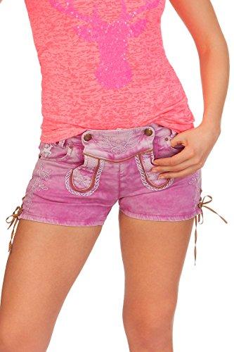 Hangowear Trachten Damen Shorts - Color Jeans - hellgrau, pink, Größe 34