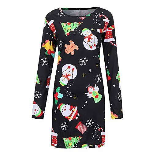 TEBAISE Damen Weihnachtskleid Frauen Mädchen Weihnachten Starts Print Langarm Kleid Damen Abendgesellschaft Knielangen Kleid Hirsch Weihnachtsbaum Dekorative Weihnachten Kleid