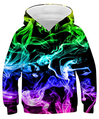 ALISISTER 3D Druck Neuheit Hoodie Kapuzenpullover Kinder Coole Bunt Rauchen Muster Hooded Pullover Sweatshirt Lässige Party Kapuzenjacke Outwear Tops L