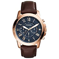 Case thickness: 12 mm, Case size: 44 mm, Band width: 22 mm Band material : Brown Leather,Strap Inner Circumference: 200 +/- 5 mm,Clasp Type Buckle Glass Type: Mineral Crystal with Blue dial and Rose gold tone stainless steel case Water Resistant: 5 A...