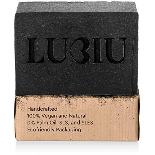 Lubiu® Charcoal Soap Bar 4 oz | Handseife, schwarze Seife, natürliche Seife, handgemachte Seife, Körperseife, Riegelseife, Bio-Seife, vegane Seife, Akne-Seife, Gesichtswäsche, Akne-Gesichtswäsche