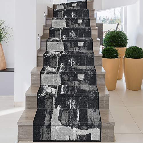 iCustomRug, Decorative Area Rug and Carpet Runner for Stairs Hallway, 8 Patterns - Customizable Lengths, Non-Skid Rubber Back, Abstract, Black, 26' X 8'