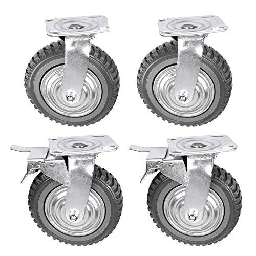 uyoyous 4 ruedas de transporte industriales de 200 mm con freno, ruedas de carga pesada, ruedas industriales (2 ruedas fijas, 2 ruedas de freno)