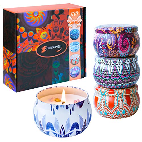 Large Scented Candles Gift Set for Women-Lavender, Jasmine and More, Soy Wax Travel Tin Candles Gift Set Fragrance Gift for Birthday Valentine's Day Mother's Day Yoga Aromatherapy Candles Gifts Sets