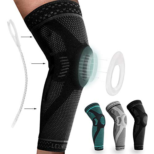 Professional Knee Brace Compression Sleeve - Best Knee Braces for Women and men, Knee Sleeves Support with Patella Gel Pads & Side Stabilizers for Running,Meniscus Tear,Arthritis,Joint Pain Relief