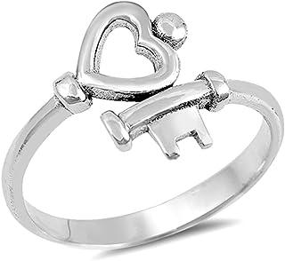 Heart Key Love Promise Ring New .925 Sterling