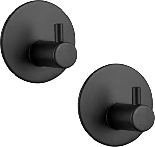 3M Adhesive Hooks Hgery Self Adhesive Black Wall Mount Hook for Key Robe Coat Towel Super Strong Heavy Duty Stainless Stee...