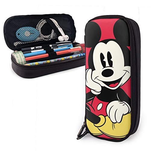 Pencil Case Mickey Mouse Big Capacity Pencil Bag Makeup Pen Pouch Stationery with Double Zipper Pen Holder for School/Office