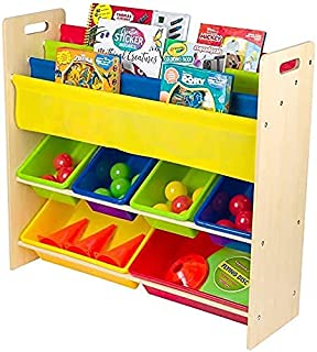 Homesmiths Toy Organizer with Book Rack,Glossy Finish,Brown