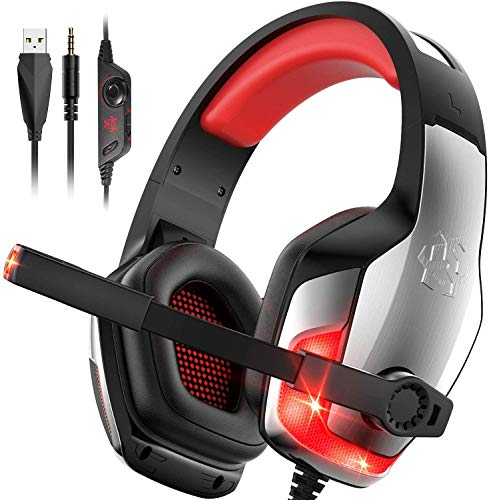 Hunterspider Gaming Headset for PS4 ,Sony PSP, Noise Canceling Gaming Headset with Microphone &LED Light , Gaming Headphones Compatible with PC/PS4/Nintendo Switch /Xbox One(Adapter Not Included)