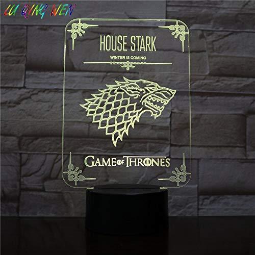 Haus Stark von Winterfell Kinder Nachtlicht Zeichen USB Thrones Drama Spielzimmer Dekoration Ice Wolf